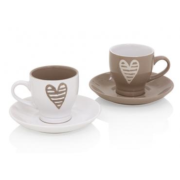 TAZZINA CAFFE BATTICUORE TORTORA SET 2PZ STONEWARE